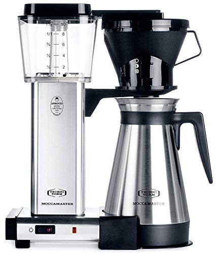 Technivorm Moccamaster 10-Cup 40oz Coffee Brewer Handmade Coffee Maker - KBT741 - Polished Silver
