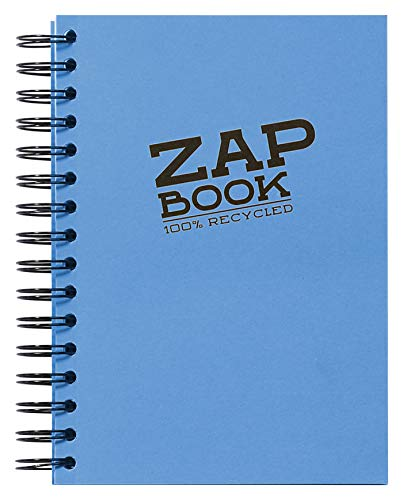 Clairefontaine 8355C - Un carnet à spirale Zap book 160 pages 100 % recyclées unies blanches 14,8x21 cm 80g, couverture couleur aléatoire