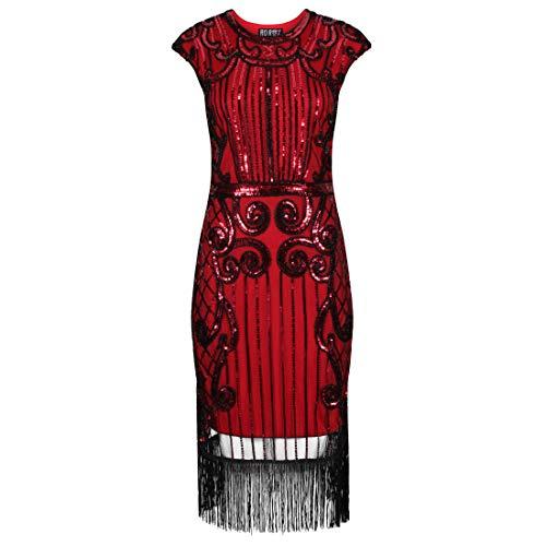 Ro Rox Josephine Vestido de la Aleta 1920 Great Gatsby Peaky Blinders - Rojo (36)