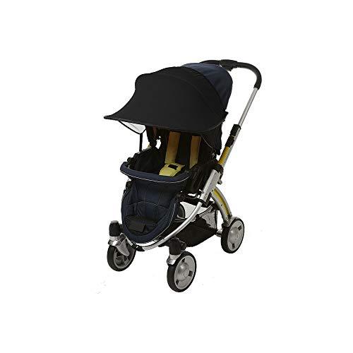 Universalgröße Sonnenschutz für Kinderwagen - Baby Sonnenverdeck für Buggy & Sportwagen|Blockiert bis zu 99% UV UPF50+|Sonnendach und hilft Babys zu schlafen (Schwarz)