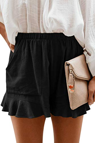 HUUSA Summer Casual Loose Comfy Beach Shorts for Women Elastic Waist Mid Rise Workout Pocketed Womens Short Black M
