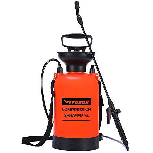 VIVOSUN 1.3 Gallon Lawn and Garden Pump Pressure Sprayer with Pressure Relief Valve, Adjustable Shoulder Strap