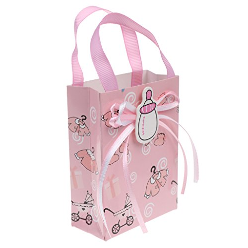 D DOLITY 12pcs Bolsas de Regalo de Bautizo de Bebé Decoración de Fiesta de Cumpleaños - Rosa