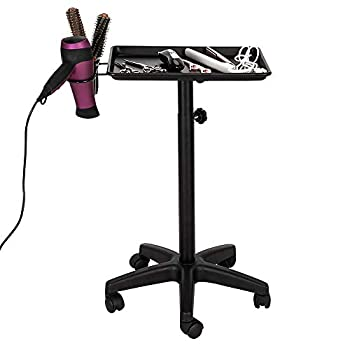 Mefeir Aluminum Instrument Tray on Wheels Mobile Chemical Tattoo Color Service Cart Hair Beauty Salon Storage Styling Trolley
