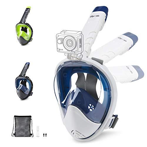 Glymnis Máscara de Buceo 180° Máscara Snorkel Anti-Fuga Gafas Cara Completa con Agente Antivaho Apoyo Camara Deportiva (Blanco y Azul, L/XL)