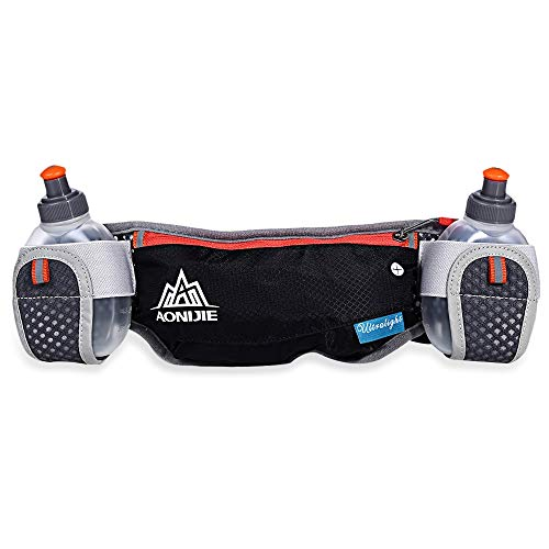 Anytec Running Belt Two Water Bottles Best Recommended Men Women Marathons Hiking Running Pockets Fits iPhones 6/6S Plus (Black)