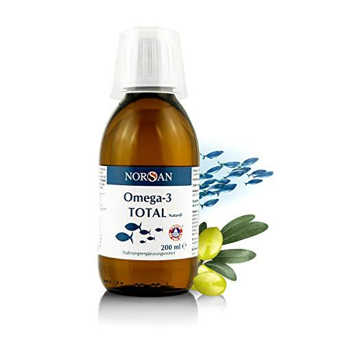 Omega-3 Total Naturell I NORSAN I EPA reiches Omega-3 Öl I Fischöl I 200 ml Flasche I 2.000 mg Omega-3 pro Portion I Natürlich hochdosiert I Laborgeprüft