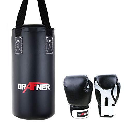 Grafner® Box-Set für Kinder | gefüllt | Boxsack 60cm / 3kg | Boxhandschuhe 6oz | Sandsack Boxen Handschuhe
