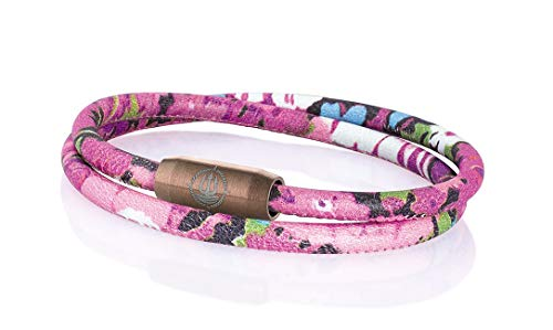 Maritimes Seemannsgarn Segeltau Armband Mainau Blumen pink 4mm, Leutnant (braun), M - Gelenkumfang von 15 cm bis 16,5 cm