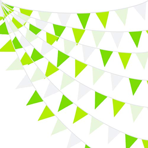 10M/32Ft Green Party Decorations Kit Reusable Vintage Banner Fabric Triangle Flag Cotton Bunting Garland Kit for Wedding Birthday Party Home Nursery Outdoor Garden Hanging Festivals Parties Decoration