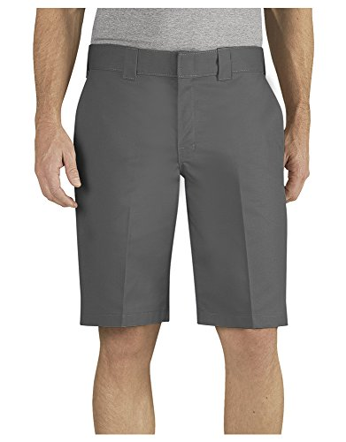 Dickies Men's 11 Inch Relaxed Fit Stretch Twill Work Short, Gravel Gray, 36
