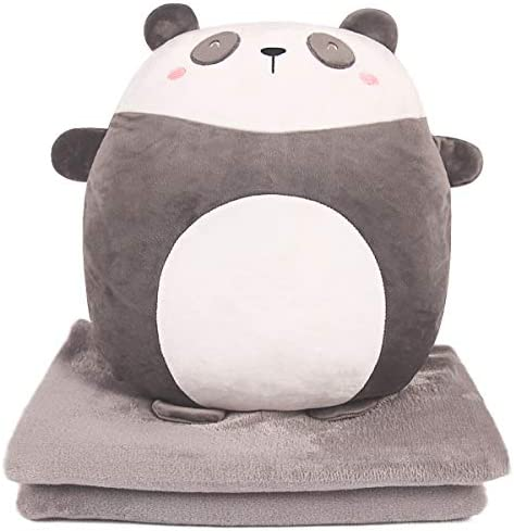 ARELUX 3 in 1 Soft Panda Plush Pillow Blanket Set 15 7 Perfect for Travel Nap Time Car Office product image