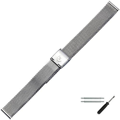 MARBURGER Uhrenarmband 14mm Edelstahl Silber - Werkzeug Montage Set 80701140020