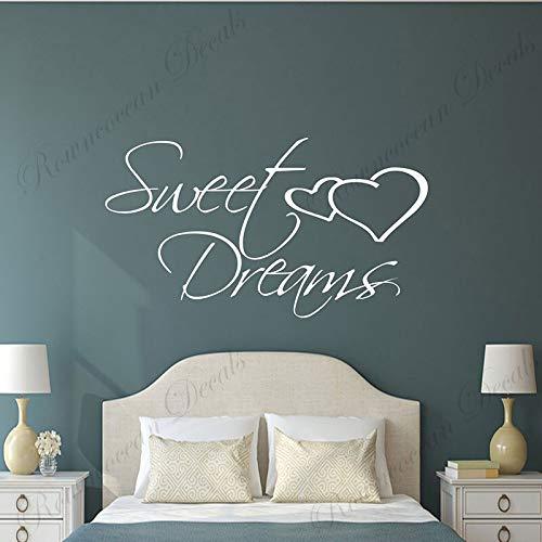 AGjDF Dormitorio Pegatinas de Pared Dulces sueños Frases románticas Tatuajes de Pared Vinilo diseño de Interiores del hogar decoración de Pareja Mural de la habitación de Matrimonio