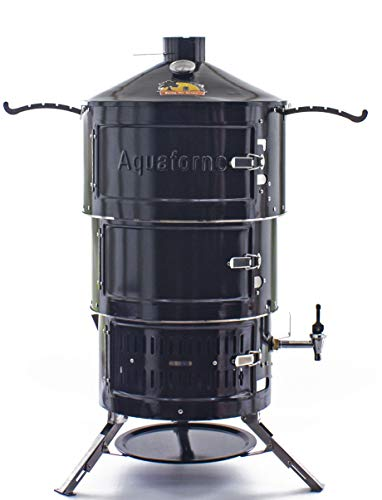 Aquaforno Portable BBQ, Smoker, Fire Pit, Oven All-in-One | 3-Tier Outdoor Cooking Set for The Garden, Camping, Glamping, and Days Out | Black