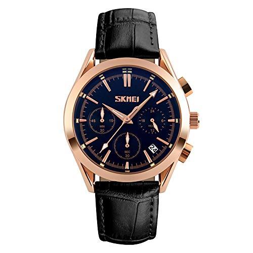 Xiang Qian Zhang Armbanduhr männer,Sportuhren Herren,Uhren Wasserdichte Leder Quarz Uhr Mann Uhr Stoppuhr Datum Armbanduhre