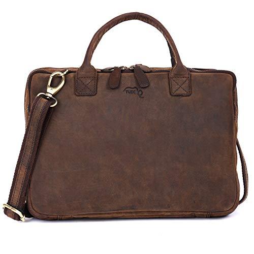 TUSC Erinome Premium Ledertasche für Laptops/Tablets bis 12,5 Zoll, Elektro-Zubehör Organizer Tragetasche mit Schultergurt und Griff, Laptophülle, Umhängetasche Schultertasche, Größe-33x24x6 cm