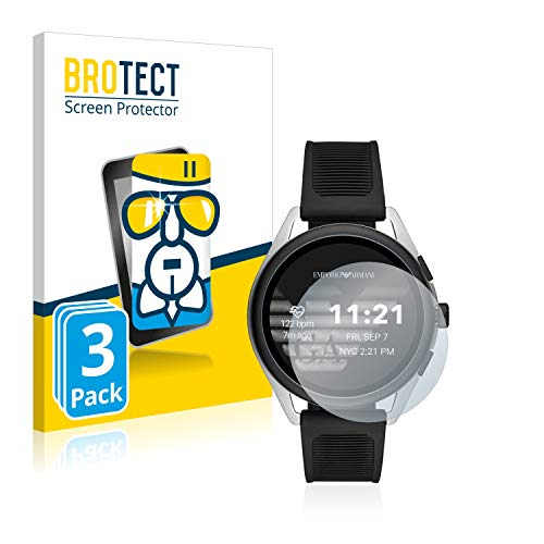 BROTECT Panzerglas Schutzfolie kompatibel mit Emporio Armani Connected Smartwatch 3 (3 Stück) - 9H Extrem Kratzfest, Anti-Fingerprint