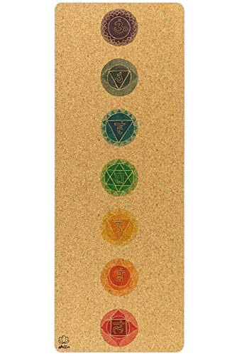 WELLIA Chakras - Alfombra de yoga de corcho natural, 100% ecológica, 183 cm x 63 cm x 5 mm, no tóxica para yoga, pilates, aeróbic, fitness y gimnasia, marca francesa