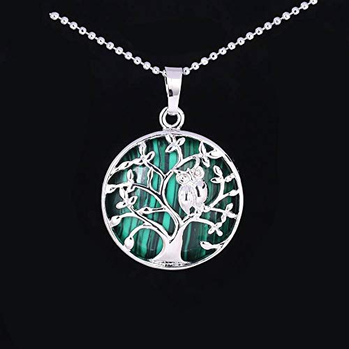 Stone Pendant Necklaces For Women,Silver Wrapped Tree Of Life Natural Stones Malachite Pendant Necklaces With Silver Chain Christmas Jewelry Gift For Women Men