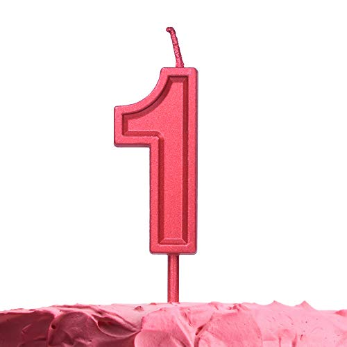 Get Fresh Number 1 Birthday Candle – Red Number One Candle – Elegant Red Number Candles for Birthday Anniversary Wedding Party – Perfect Baby 1st Birthday Candle for Cake– Red 1 Candle