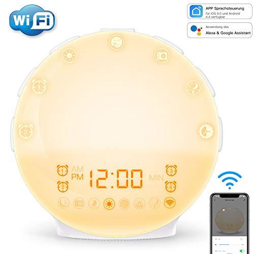 [App Kontrolle] COULAX Lichtwecker Wake up Licht Wecker Sonnenauf und Sonnenuntergangs mit Android iOS App Smartleben Licht 4 Alarm & Snooze Funktion FM Radio 7 Farben