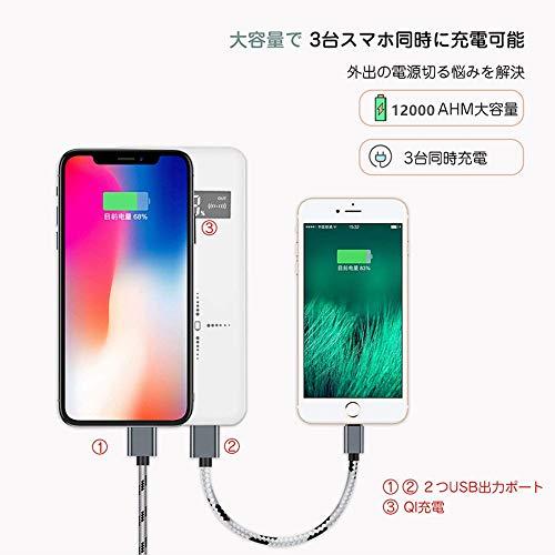 Lakko(ラッコ)『モバイルバッテリーワイヤレス充電大容量12000mAh』