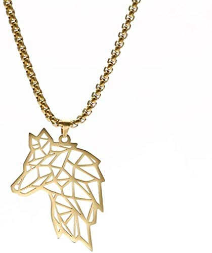 ZJJLWL Co.,ltd Necklace Men Wolf Head Pendant Necklace Amulet Stainless Steel Golden Long Box Chain Necklaces Jewelry Gift for Friend