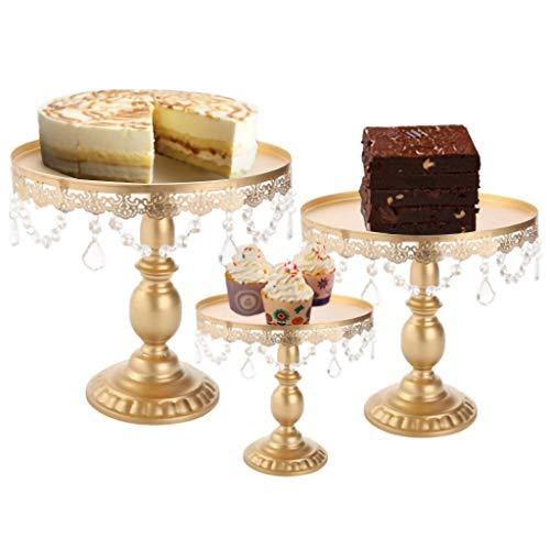 ToDIDAF Runder Cupcake Ständer Gold Tortenständer mit Kristall Schmiedeeisen-Nachtisch-Snack-Ausstellungsstand-Turm für die Hochzeit Karneval Party Esszimmer Tabelle Dekoration (L 30 x 30 cm)