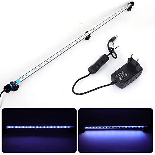 MLJ Aquarium Beleuchtung, LED Aquarium Leuchte 71 cm Wasserdicht Aquarium Lampe Stecker EU Unterwasser LED-Lichtbalken für Fisch Tank (Weiß & Blau)