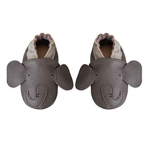 IceUnicorn Baby Lauflernschuhe Jungen Mädchen Weicher Leder Krabbelschuhe Kleinkind Babyhausschuhe Rutschfesten Wildledersohlen(Grauer Elefant, 6-12 Monate)