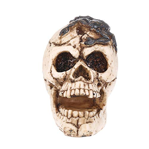 YOUZE Resina Artesanía Estatuas Forma Humana Cabeza de Esqueleto Homosapiens Cráneo con Escorpión Estatua Estatuilla Demonio Mal Decoración para el hogar