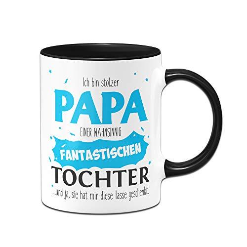 Tassenbrennerei Tasse Papa Tochter - Stolzer Papa - Geschenk für Vater Papa (Schwarz)