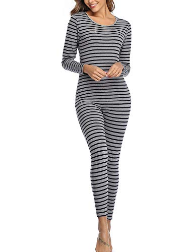 CzDolay Baselayer Women's Scoop Neck Long Johns Comfy Thermal Underwear Set Wicking Pj (Gray, Large)