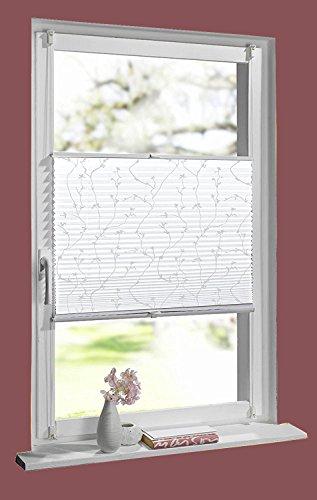 HOMELIA Klemmfix-Plissee mit Klemmträger, Stoff: Bedruckt mit Blumenmotiv, verspannt ohne Bohren oder Schrauben, 110 x 130 cm Blume