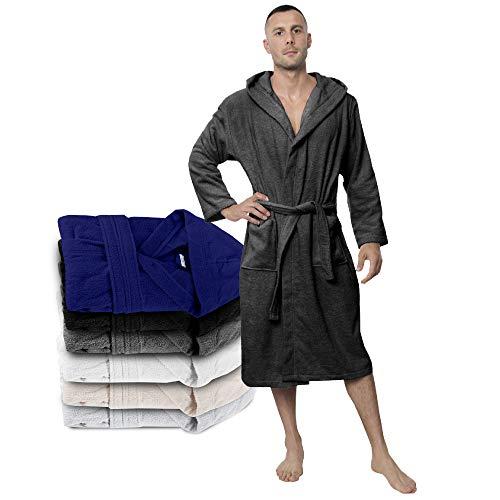 Twinzen Bata Hombre, Albornoz de baño (XL, Gris Oscuro) - Oeko Tex, No Producto Químico...