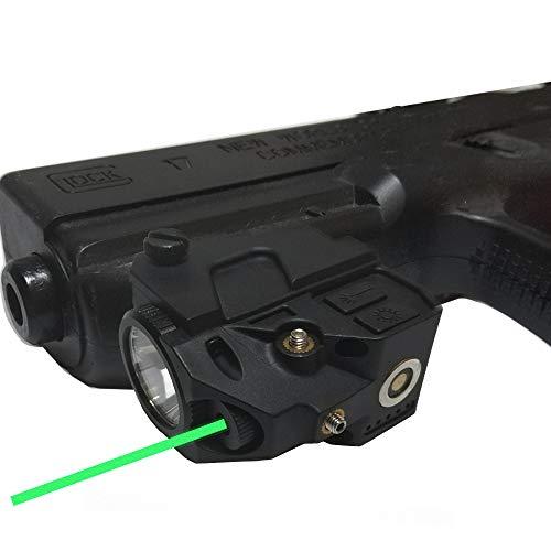 Flashlight Green Laser Sight, New Compact Pistol Laser+ 220ml Flashlight Fit most Standard Picatinny Rail Gun Low Profile Pistol Dot Sight Magnetic Charging Handgun Laser Tactical Sights Airsoft Laser