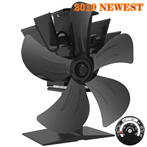 KINDEN Wood Stove Fan 5-Blade - Heat Powered Log Burner Increases 80% More Warm Air Than 2 Blade Eco-Friendly with Stove Thermometer (Aluminium Black,...