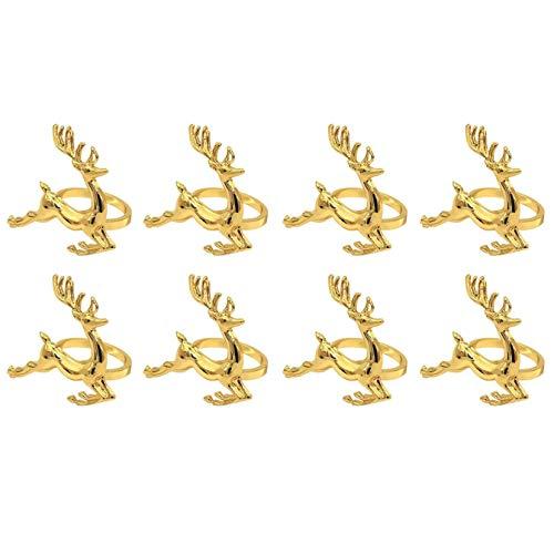Servilleteros, Gold Elk Chic Servilleteros para cubiertos, boda, Navidad, Acción de Gracias, mesa de comedor de cocina casera, 8 piezas