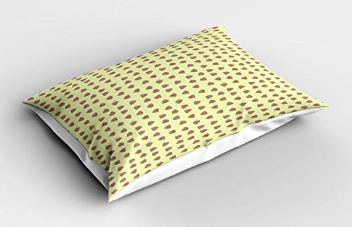 ABAKUHAUS Poop Emoji Pillow Sham, Simplistic Pattern of Kawaii Style Funny Cartoon Elements, Decorative Standard Size Printed Pillowcase, 26' X 20', Pale Yellow Warm Taupe