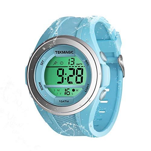 Orologio da polso per bambini, per nuoto, immersione, subacqueo, 100 m, con funzione cronometro, cronografo, sveglia, doppio fuso orario, formato 12/24 ore