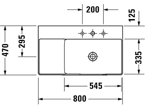 Duravit Waschtisch DuraSquare 800m Weiß, Becken r, 2349800079