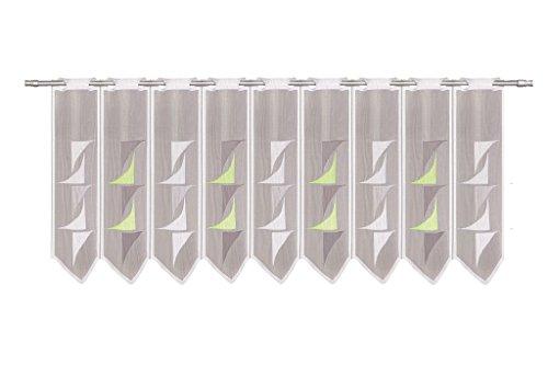 Tenda della Finestra Astratto Altezza 90 cm | può Scegliere la Larghezza in segmenti da 30 cm, Come Vuole | Colore: Bianco; Verde; Grigio | Tendine Cucina