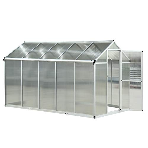 Outsunny Clear Polycarbonate Greenhouse Aluminium Frame Large Walk-In Garden Plants Grow Galvanized Base 6 x 10ft