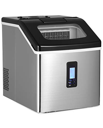 Ice Maker Machine for Countertop, 24 Square Ice Cubes Ready in 15 Mins, 40 lbs Per Day, Portable Stainless Steel Ice Maker with Ice Scoop and Basket… (Normal)