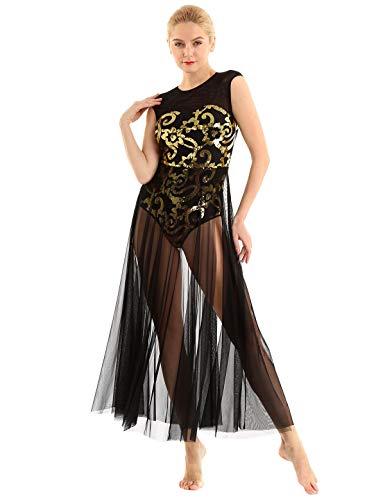 MSemis Vestido Largo de Danza Ballet para Mujer Vestido Lentejuelas de Danza Lirica Disfraz Bailarina Mujer de Fiesta Maillot Elegante de Danza Clásica