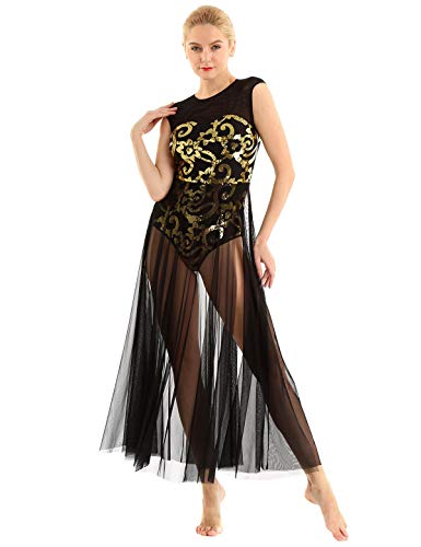 inhzoy Vestido de Danza Ballet Lentejuelas para Mujer Maillot Tutú Leotardo de Gimnasia Patinaje Vestido de Danza Lírica Contemporánea Traje Bailarina Fiesta Negro Small
