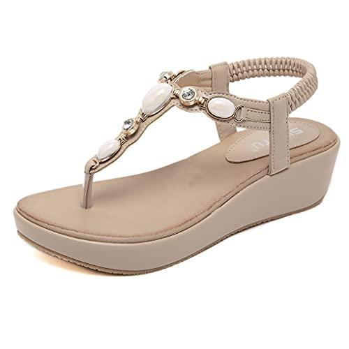 Orgrul Sandalias Mujer Verano 2021, Chanclas Mujer Verano Plana, Comodas Boho Vintage Moda Zapatos de Playa Punta Abierta Negro Marrón Azul Número 35-42 EU 943 (41, Q)