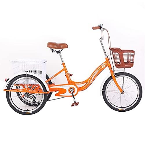 zyy Triciclo para Adultos Bicicletas de Crucero de 20 Pulgadas Triciclo de Bicicleta del Crucero con Carrito de Triciclo con Marco de Aleación para Compras de Deportes Al Aire Libre Naranja
