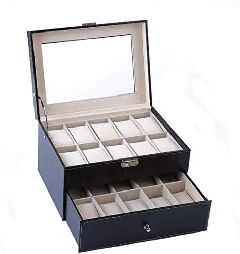 Caja de reloj de doble capa con 20 cajas de colección de relojes para mostrar la parte superior de cristal, bolsa de almacenamiento